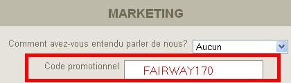 Code Bonus Fairway Casino