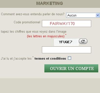 Code Bonus sur le formulaire inscription de Fairway Casino