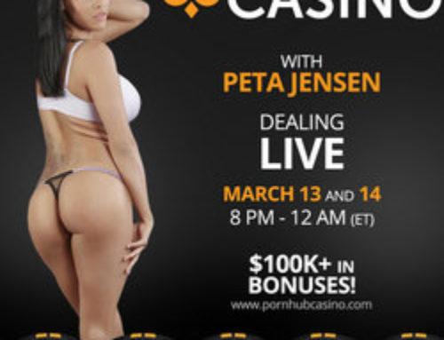 Peta Jensen : croupière en direct sur Pornhub Casino