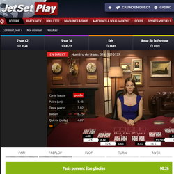 Jeux live sur JetsetPlay Casino