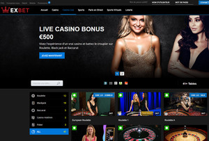 Exbet Casino, live avec croupiers en direct