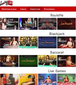 Lucky31 Casino: meilleur live casino