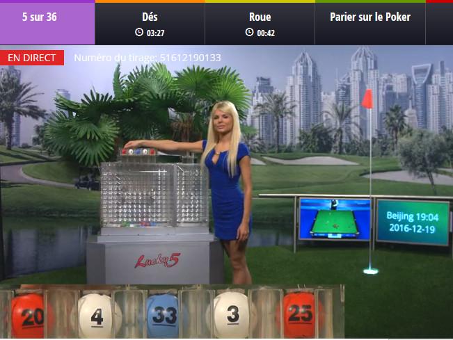 Loterie en live avec croupiere en direct