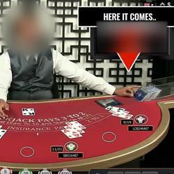 Arnaque a une table de live blackjack d'un casino en direct