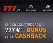 Bonus Cashback sur Casino777 pour les joueurs belges