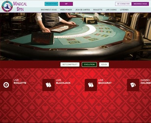 Magical Spin Casino sur Croupiers en Direct