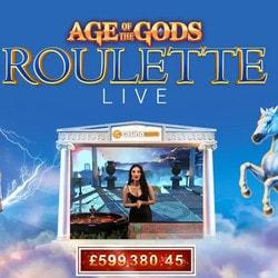Live Roulette Age of the Gods, une roulette progressive de Playtech