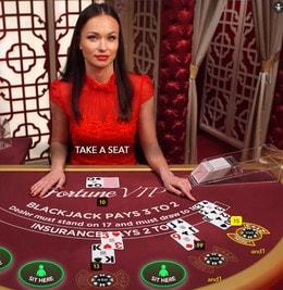 Live Blackjack Fortune VIP du logiciel Evolution Gaming