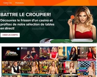 Easybet le live casino avec croupiers en direct