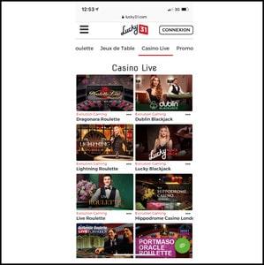 Tables avec croupiers en direct de Lucky31 Casino sur mobile