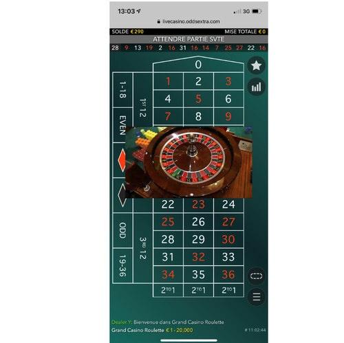 Roulette en live sur mobile
