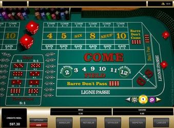Table de craps d'un casino en ligne