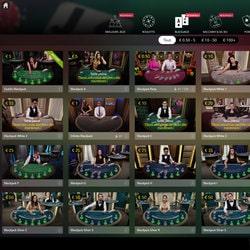 Lobby des tables de black jack en live d'Evolution Gaming