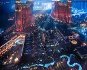 Vue aérienne de Macao et ses casinos