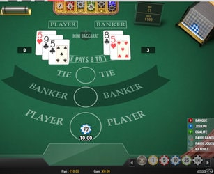 Table Mini Baccarat en RNG et sans croupiers en direct