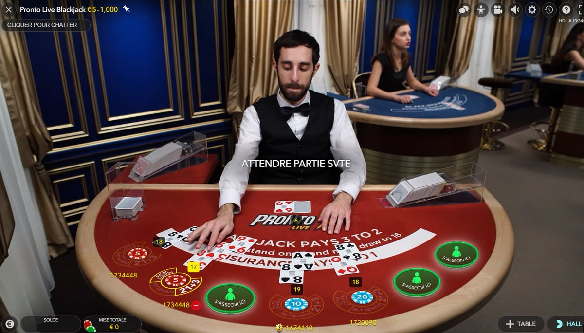 Table Pronto Live Blackjack