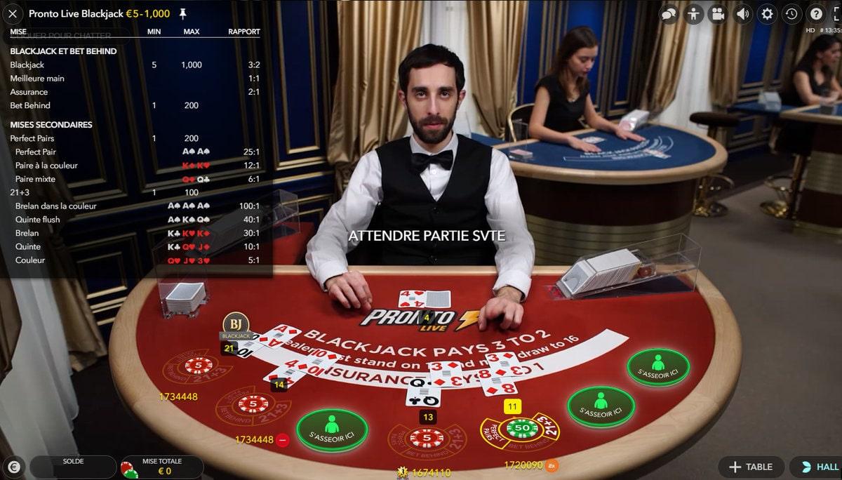 Mises et gains sur la Pronto Live Blackjack