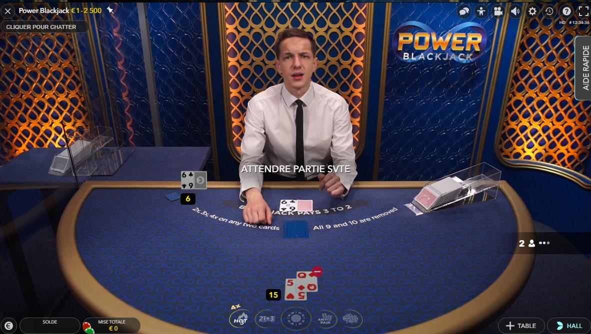 Power Blackjack, table de black jack en live Evolution Gaming