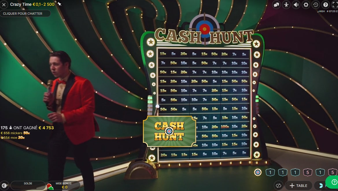 Jeu Bonus Cash Hunt sur Crazy Time d'Evolution Gaming
