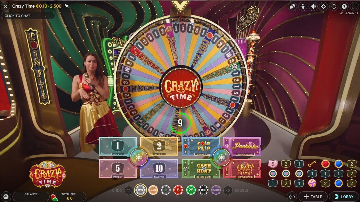 Crazy Time la Roue de la Fortune d'Evolution Gaming