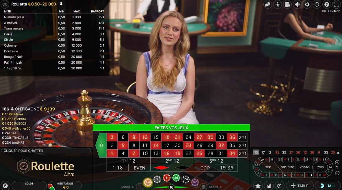 Tableau des probabilités de gains a la roulette