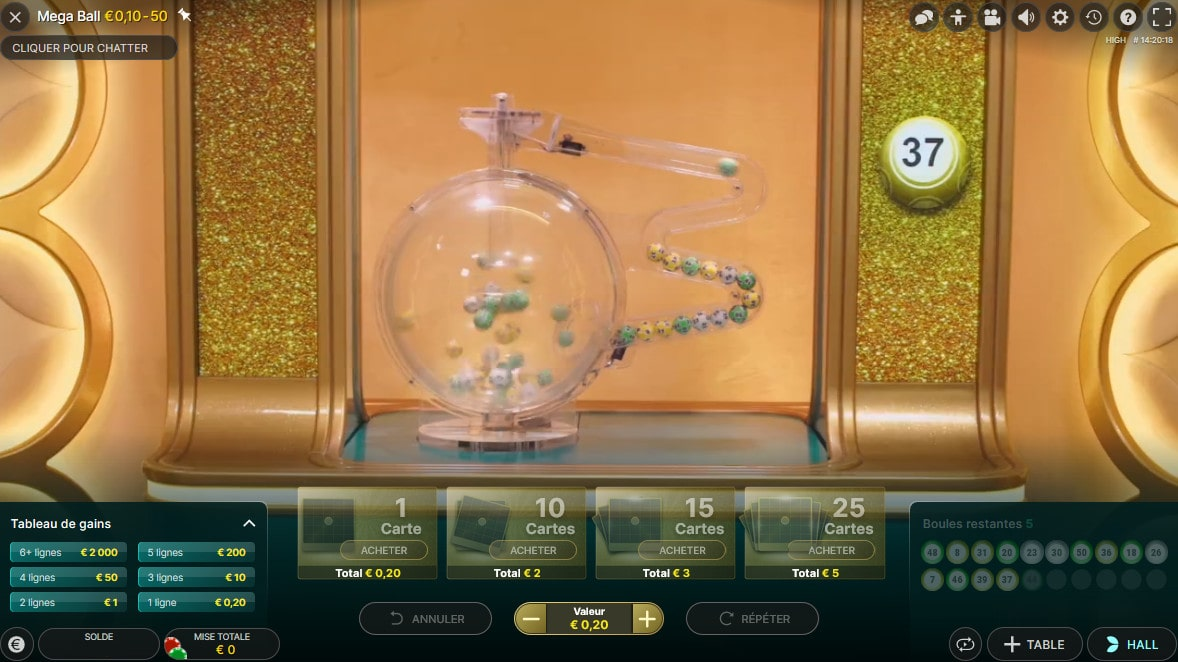 Mega Ball est un melange de Keno, Loto et Bingo en ligne