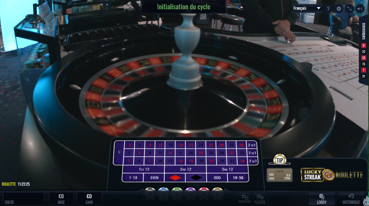 Roulette en live du Portomaso Casino de Malte
