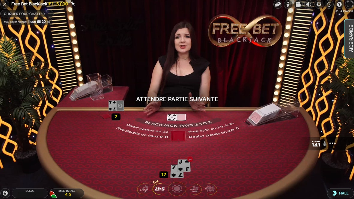 Jeu de black jack en studio avec Freebet Blackjack