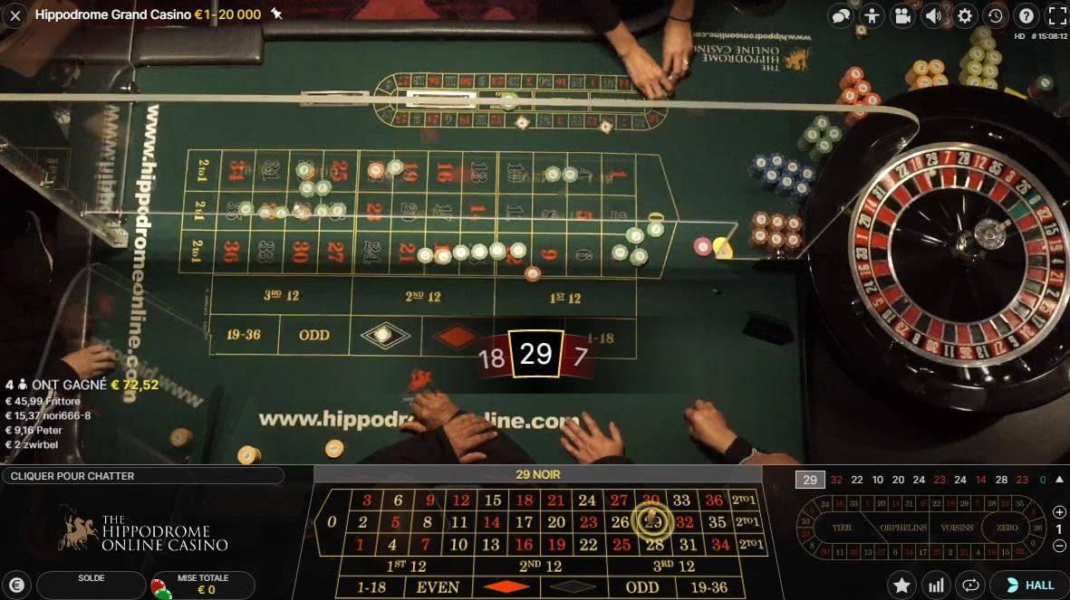 Plan aérien de la table de roulette de l'Hippodrome Casino de Londres de Leicester Square