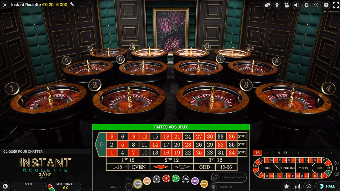 12 tables de roulette du jeu en live Instant Roulette d'Evolution gaming