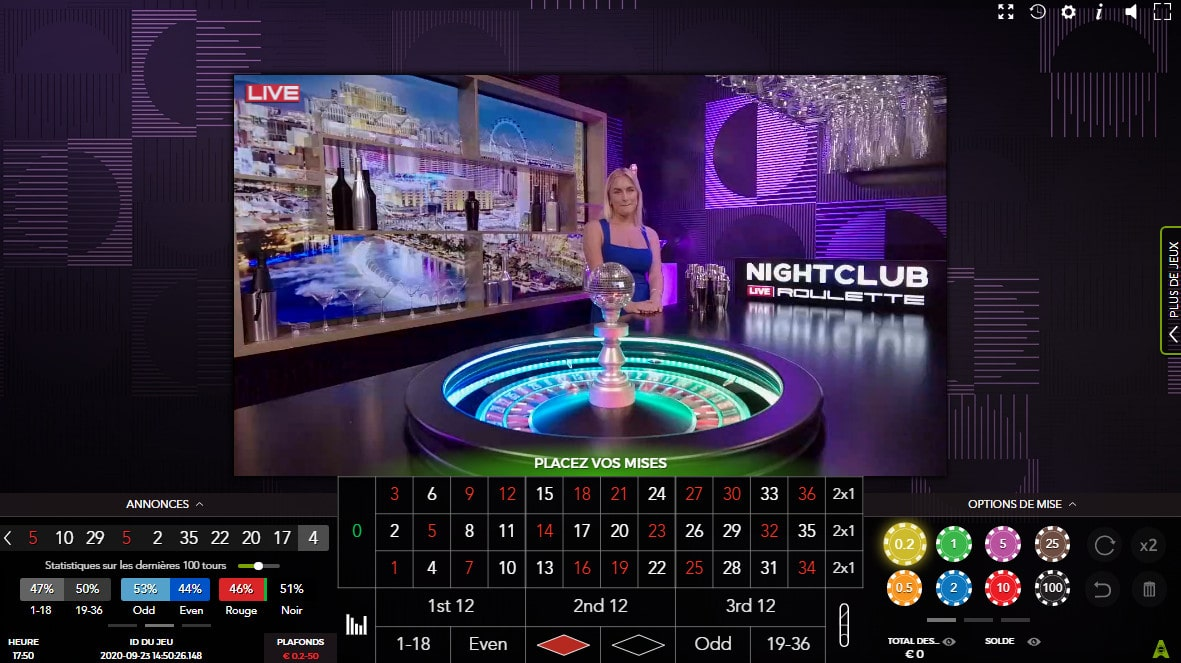 Night Club Roulette d'Authentic Gaming