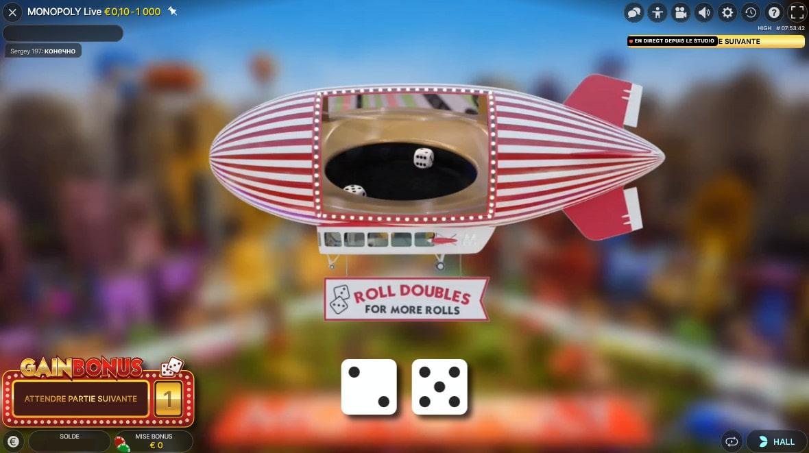 le jeu de Monopoly Live avec des en RNG
