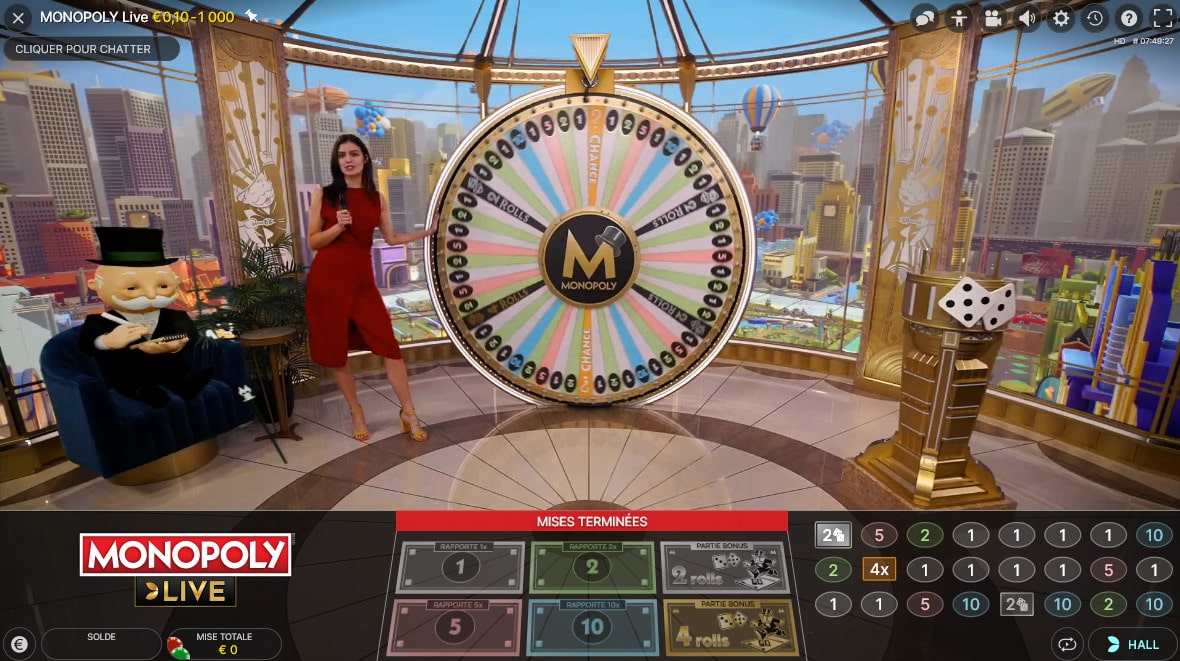 Plateau de studio du monopoly Live