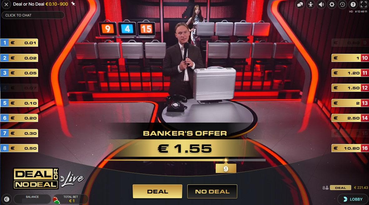 Offre du banquier sur le jeu en live Deal Or No Deal