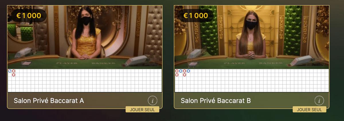 Deux tables de Salon prive Baccarat pour gros joueurs VIP