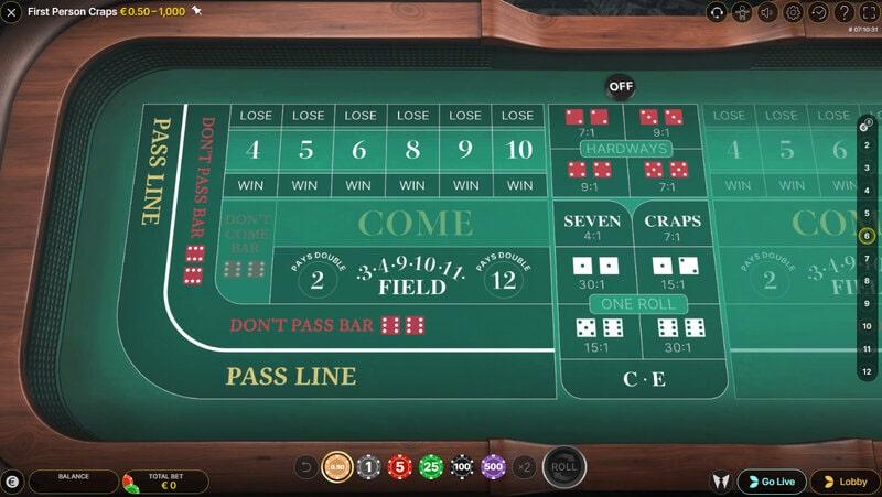 Table de craps en ligne en RNG Craps Live Person sur Magical Spin