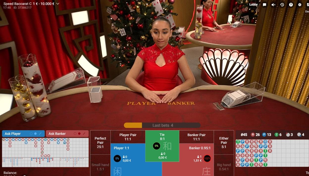 Croupière à la table de Speed Baccarat de Pragmatic Play Live Casino