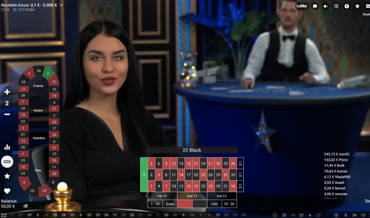Croupière à la table de Roulette Azure de Pragmatic Play Live