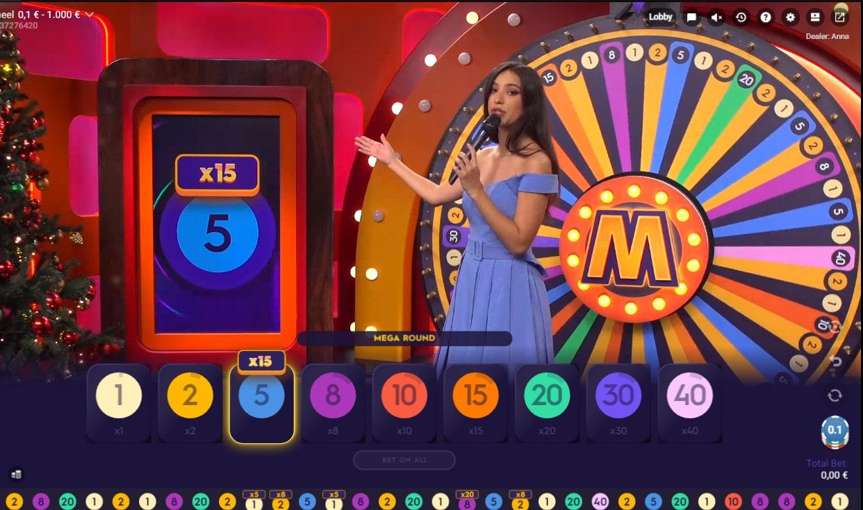 Multiplicateur de gains sur Mega Wheel de Pragmatic Play Live