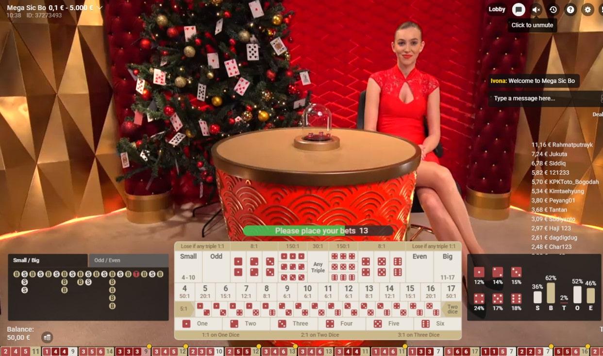 Studio de Mega Sic Bo de Pragmatic Play Live Casino