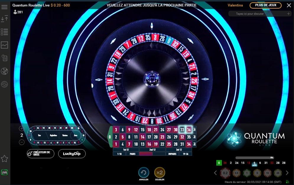 Vue aérienne du cylindre de la Quantum Roulette de Playtech